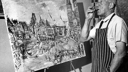 Oskar Kokoschka standing in front of one of his paintings in the 1970s. Picture: Interfoto/Lebrecht