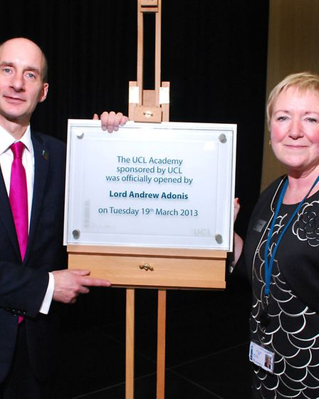 Lord Andrew Adonis and principal Geraldine Davies at the official opening of the UCL Academy. Pictur