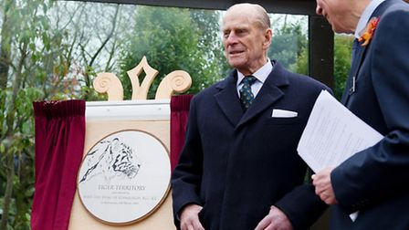 Prince Philip attends the official opening of the new tiger enclosure at London Zoo. Picture: PA/Leo