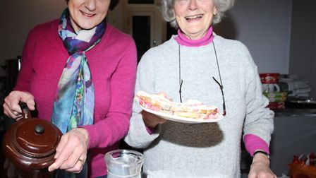 Sue Peddir and Sarah Dana selling cakes at the new cafeteria in St Peter's Crypt de Beauvoir Town.