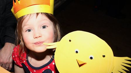 Poppy Bemmer, three, makes her own chicks at the Easter celebrations in Sutton House.