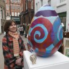 Artist Sarah John who made the giant egg for the Hampstead Easter egg hunt.Picture: Nigel Sutton