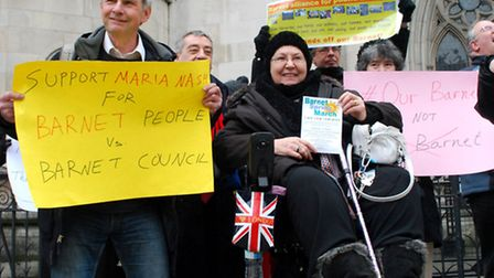 Maria Nash (centre) with supporters outside the Royal Courts of Justice last week. Picture: Polly Ha