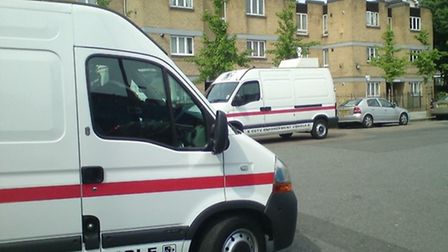 A mobile CCTV van takes over from a colleague stationed in Boleyn Road, Hackney.