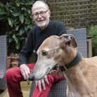 Charity founder Martin Humphery with his rescued greyhound, Percy. Picture: Nigel Sutton