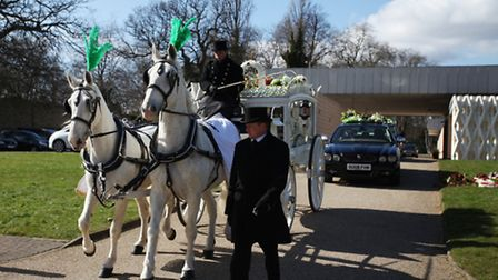 The funeral white carriage for 10-year-old Kaikaine Slater, who died of a heart attack on February 2