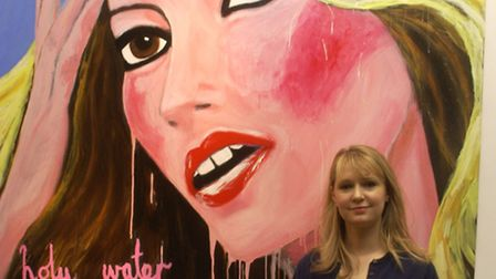Artist Stella Vine with her painting of Kate Moss. Picture: Dafydd Jones