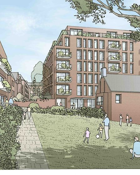 An artist's impression of plans for an art pavillion (front left) on the King's College London site