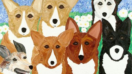 Cindy Lass' painting of the Queen's corgis and dorgis.