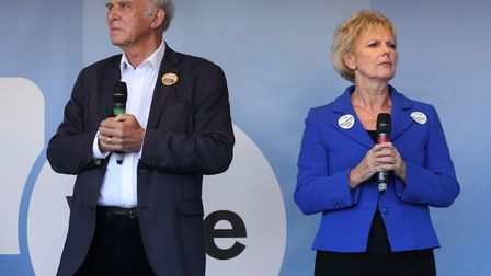 MP Vince Cable and MP Anna Soubry address Anti-Brexit campaigners at a rally after the People's Vote
