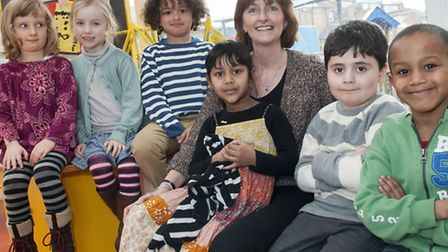Kate Frood, headteacher of Eleanor Palmer, pictured with young pupils. Picture: Nigel Sutton.