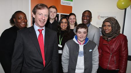Cllr Guy Nicholson, front, attends the launch of the Apprenticeship Week at the Hackney Job Centre.