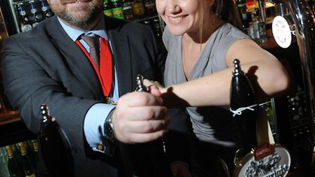 Cllr Jonathan Simpson, Deputy Mayor of Camden, got behind the bar at the reopening of The George in