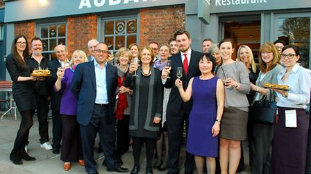 Members of Hampstead Business Hub celebrate the group's first anniversay at Aubaine Restaurant. Pict