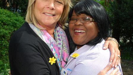 Actress Linda Robson with healthcare assistant Leonie Christian, who helped care for her mother, at