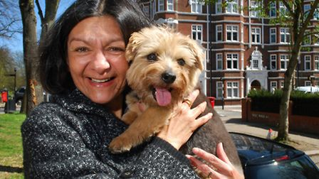 EastEnders actress Shelley King re-united with her beloved pet dog Archie. Picture: Polly Hancock