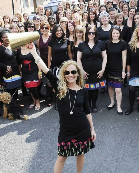 Fashion designer Nicola Quilter in front of the 'flash mob'