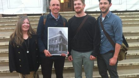 Campaigners Zena Sullivan, Will Palin, Peter Kelly and Nick Pope celebrate outside Hackney Town Hall