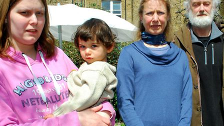 Dynham Road resident Michelle Charlery with son Jayden and neighbours Dorothea and Peter Breitzter-K