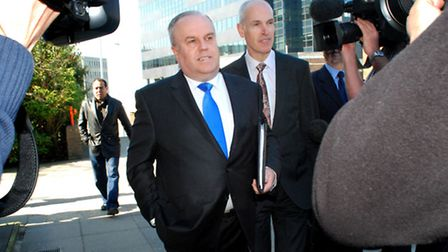 Cllr Brian Coleman and his lawyer arrive at Uxbridge Magistrates Court. Picture: Polly Hancock