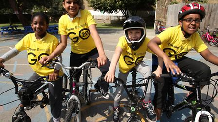 London Fields Primary schoochildren create awareness about safe cycling and walking through the GO 2