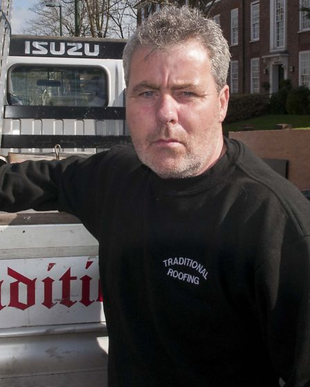 Roofer Joe Loveridge is suing Sir Victor Blank over an unpaid bill for work he carried out on the bu
