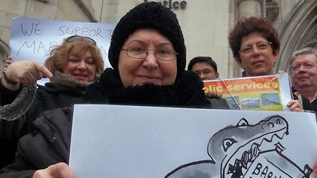 Maria Nash with supporters outside the High Court last month.