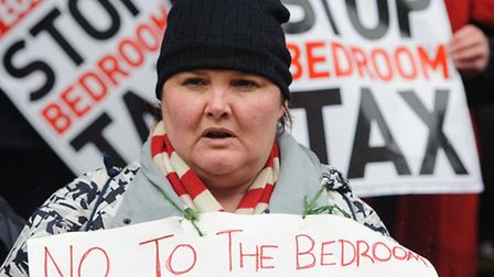 Members of the public protest against bedroom tax. Picture: PA