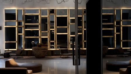 The entrance lounge at Andaz where soft drinks are available complimentarily all day long.