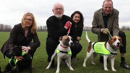 Actor Peter Egan, centre, patron of All Dogs Matter, volunteers Soeil Dayus, left, and Steve Dunn wi