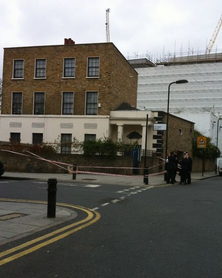 Police officers at the scene of the stabbing, photo Emma Bartholomew