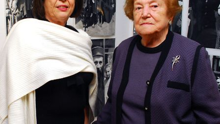 Trudy Gold with Ghetto survivor Sabina Miller at the exhibition's private viewing. Picture: Polly Ha