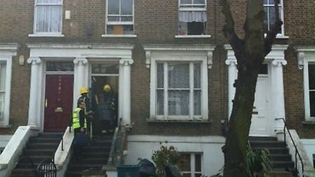 Firefighters at the flat fire in Gaisford Road, Kentish Town