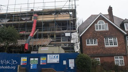 The building site next to Michael Taylor's flats seen from the street. Picture: Nigel Sutton
