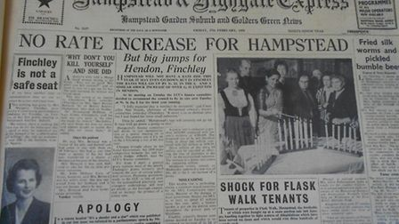 The Ham&High's front page on February 27, 1959, following Margaret Thatcher's speech at Hampstead Ga