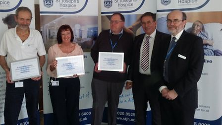 L-R Mark Alderson, Dolores Dunn, Roy Nightingale, Chairman of St Joseph's Chris Bourne and Chief Exe
