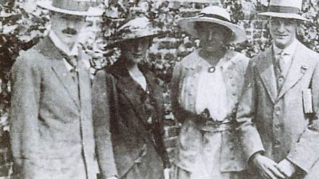D.H. Lawrence, Katherine Mansfield, Frieda Lawrence and John Middleton Murry at the Lawrence's weddi
