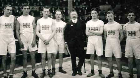 Harry Mallin (second from left) and the British Olympic boxing team from the 1924 Paris Olympics