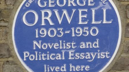 The George Orwell plaque at 77 Parliament Hill