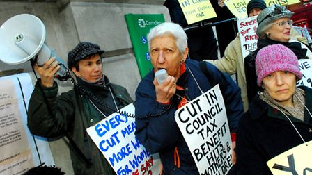 Campaigners from Camden United for Benefit Justice protest outside Camden Town Hall. Picture: Polly