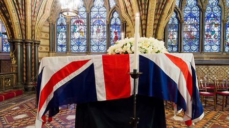 The coffin of Baroness Thatcher rests in the Crypt Chapel of St Mary Undercroft beneath the Houses o