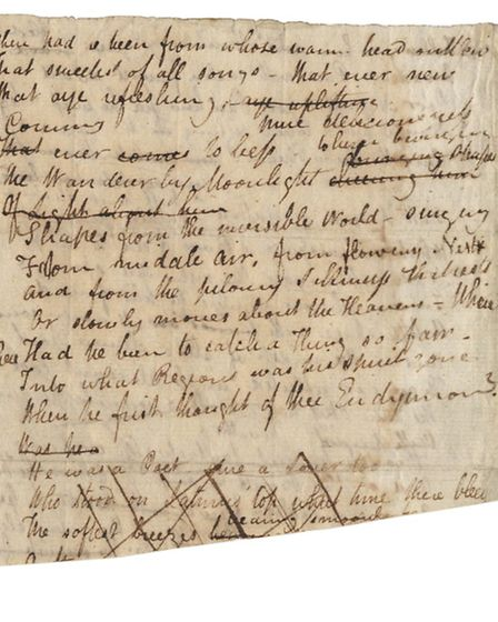 Extract from the manuscript of John Keats's poem I Stood Tiptoe Upon a Little Hill, which sold for £