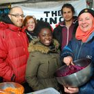 Tastes of the Nile stall at Swiss Cottage Farmers Market. From left Paul Perkins CE of The Winch, An