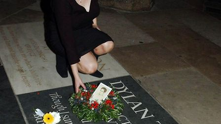 Hannah Ellis, granddaughter of Dylan Thomas, at a wreath laying ceremony at Westminster Abbey to mar