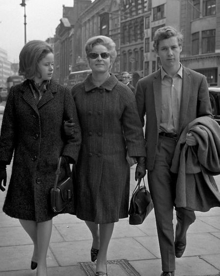 Caitlin Thomas, widow of Dylan Thomas, with her daughter, Aeron, 23, and son, Colm, 16, on the secon
