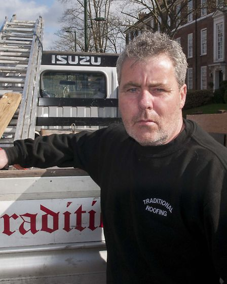 Roofer Joe Loveridge carried out work on Sir Victor Blank's home last year. Picture: Nigel Sutton.