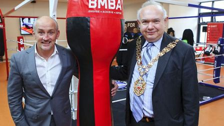 Barry McGuigan at Woodberry Down Youth Hub with Cllr Michael Desmond, Speaker of Hackney Council