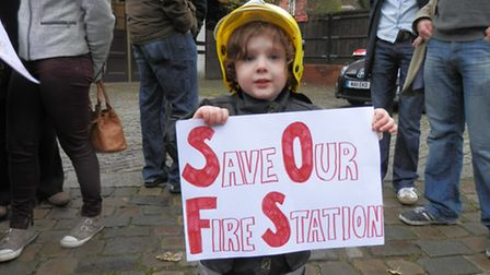 A young campaigner outside Belsize Fire Station