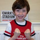 Seven-year-old Harvey won the competition after sending this photo to the Gunners