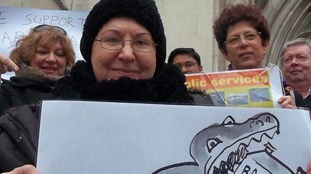 Maria Nash outside the High Court to challenge One Barnet. Picture: Polly Hancock.